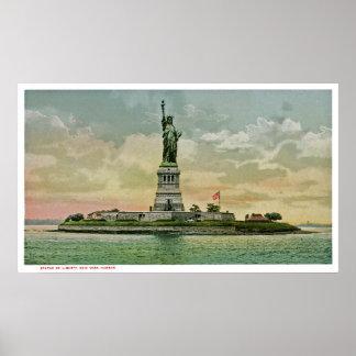Estatua de la libertad, puerto del vintage de Nuev Póster