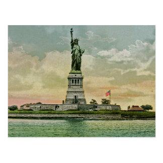 Estatua de la libertad, puerto del vintage de Nuev Postales