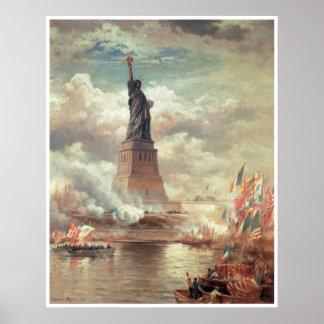 Estatua de la libertad que aclara el mundo póster