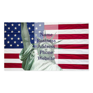 Estatua de la libertad y de la bandera americana tarjetas de visita