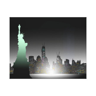 Estatua de la libertad y del horizonte de New York Impresiones De Lienzo