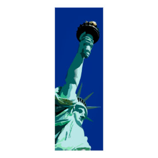 Estatua de la libertad y del poster del cielo azul póster