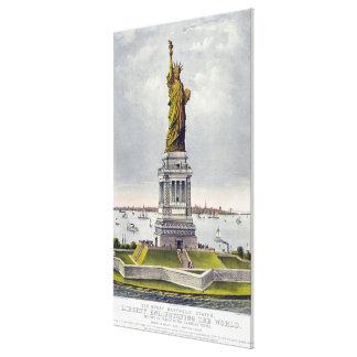 Estatua de la litografía histórica de la libertad impresión en lienzo