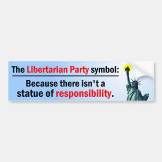 Estatua de la responsabilidad etiqueta de parachoque