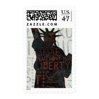 Estatua de la silueta de la libertad timbres postales