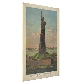 Estatua de las ilustraciones de la libertad impresión en lona