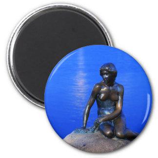 Estatua de little mermaid, Copenhague, Dinamarca Imán Redondo 5 Cm