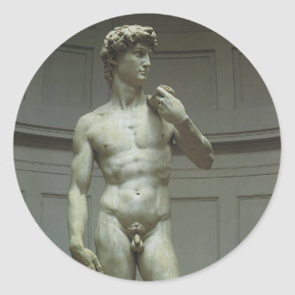 Estatua de mármol de David de Miguel Ángel Pegatina Redonda