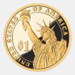Estatua de moneda de oro $1 de la libertad etiquetas redondas