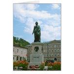 Estatua de Mozart en Salzburg Tarjeta Pequeña