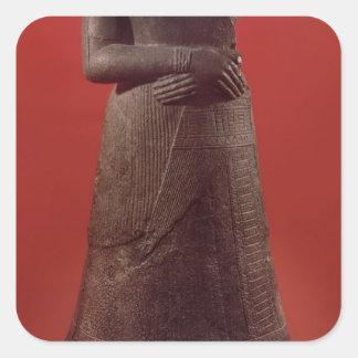 Estatua de Napirasu, esposa del rey de Elamite Pegatina Cuadrada