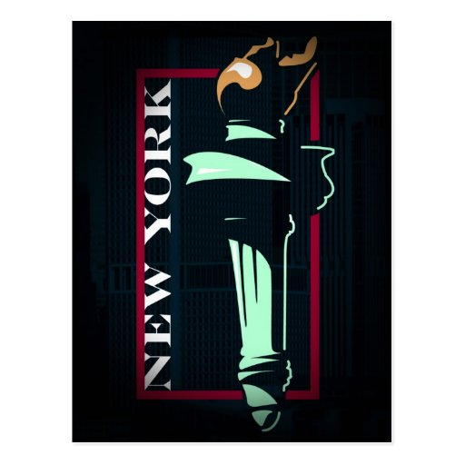 Estatua de Nueva York de la postal de la antorcha