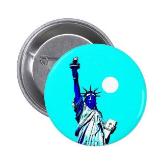 Estatua de Nueva York del arte pop de la libertad Pin Redondo De 2 Pulgadas