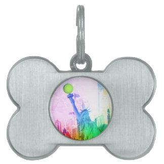 Estatua de NY de la libertad Placas De Mascota