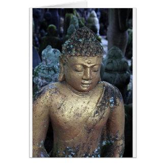 Estatua de oro de Buda con Bindi Tarjeta De Felicitación