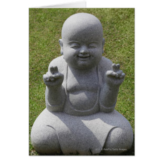 Estatua de piedra de Buda feliz Tarjeta De Felicitación