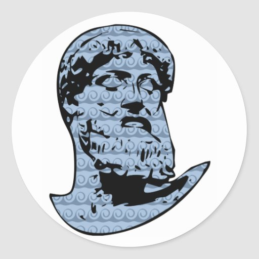 Estatua de Poseidon Pegatina Redonda