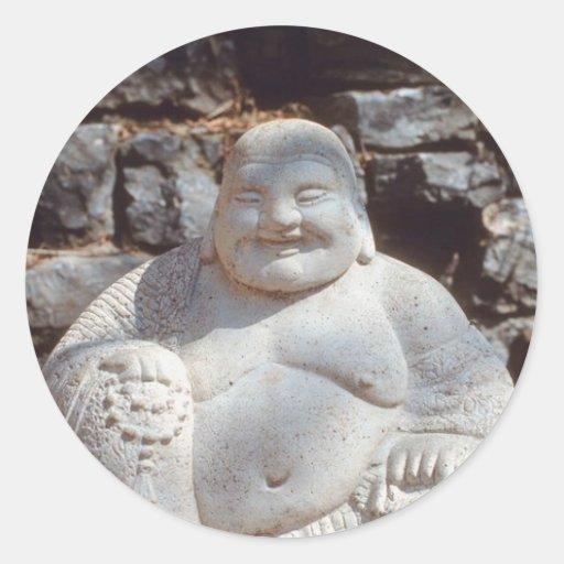 Estatua de risa de Buda Etiqueta Redonda
