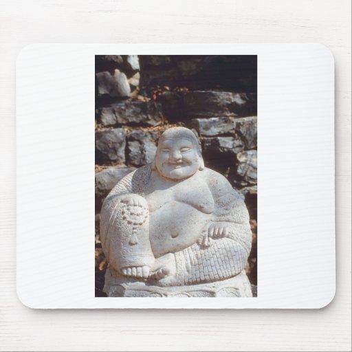 Estatua de risa de Buda Tapetes De Raton