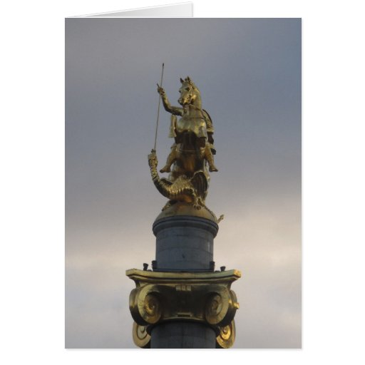 Estatua de San Jorge en el cuadrado de la libertad Tarjeta De Felicitación