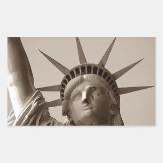 Estatua de señora Liberty Island los USA Sepia del Pegatina Rectangular