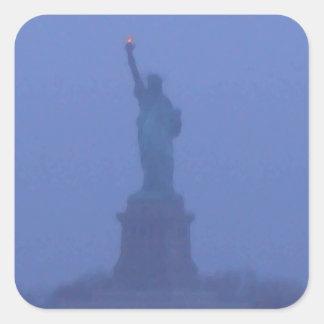 Estatua de señora Liberty libertad los E.E.U.U. Pegatina Cuadrada