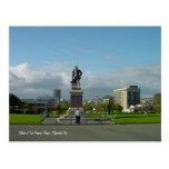 Estatua de sir Francis Drake, postal de Plymouth