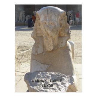 Estatua de Sphynx, postal del templo de Karnak