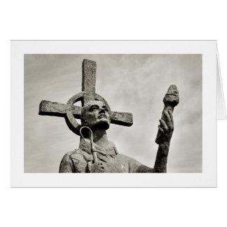 Estatua de St Cuthbert - Lindisfarne Tarjeta De Felicitación