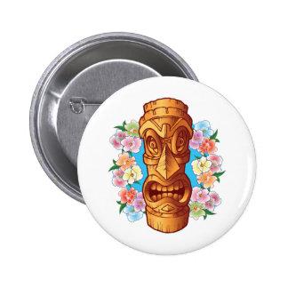 Estatua de Tiki del dibujo animado Pin Redondo De 2 Pulgadas