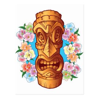 Estatua de Tiki del dibujo animado Postales