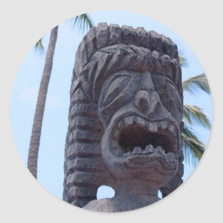 Estatua de Tiki en Kona, Hawaii - pegatina