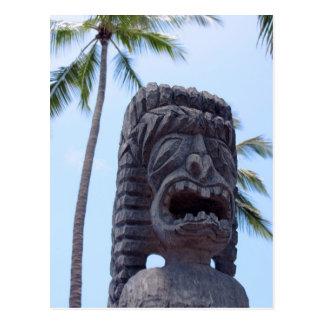 Estatua de Tiki en Kona, Hawaii - postal