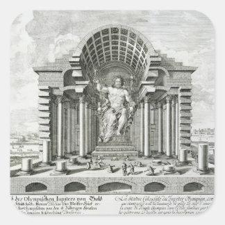 Estatua de Zeus olímpico, hecha por Phidias en el Pegatina Cuadrada