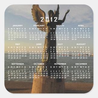 Estatua del ángel de ASAS en la puesta del sol Pegatina Cuadrada
