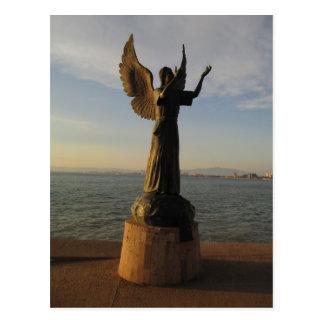 Estatua del ángel de ASAS en la puesta del sol Tarjetas Postales
