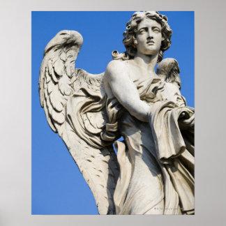 Estatua del ángel, Ponte Sant'Angelo, Roma, Italia Póster