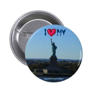Estatua del botón de la fotografía de New York Cit Pin Redondo De 2 Pulgadas