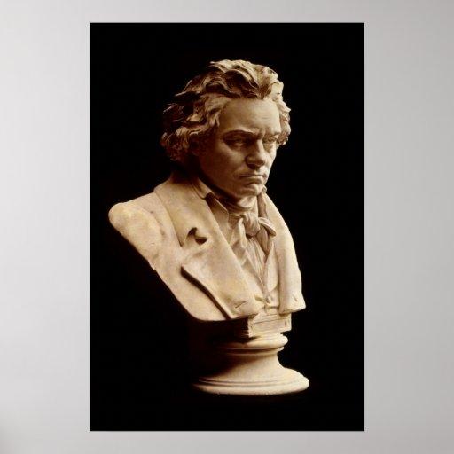 Estatua del busto de Beethoven Póster