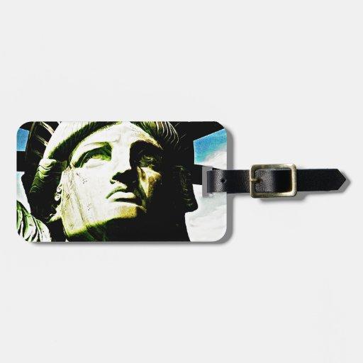 Estatua del cierre de la cara de la libertad encim etiqueta para maleta