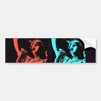 Estatua del collage de la libertad pegatina de parachoque