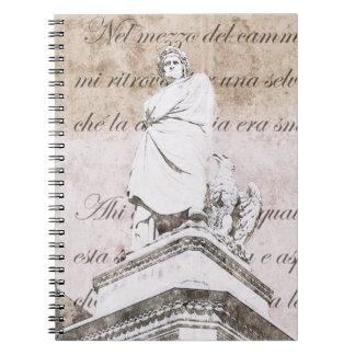 Estatua del dante Allighieri con la comedia divina Libretas