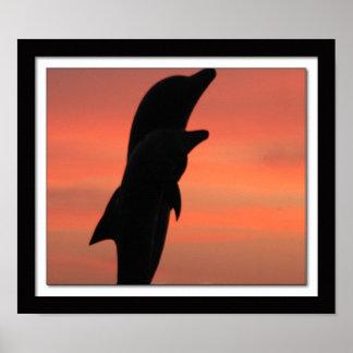 Estatua del delfín de la playa del malecón de Galv Póster