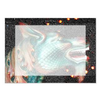 """estatua del dragón con imagen de la capa del texto invitación 5"""" x 7"""""""