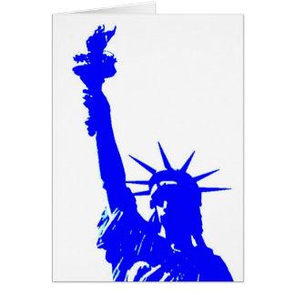 Estatua del estilo del arte pop de la libertad tarjeta de felicitación