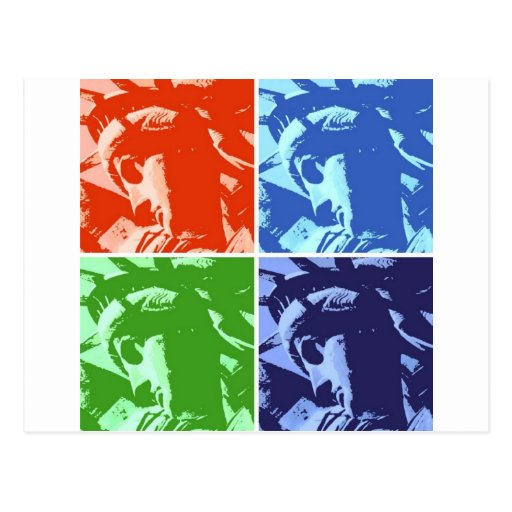 Estatua del estilo del arte pop de la libertad tarjetas postales