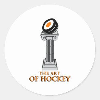 Estatua del hockey etiqueta redonda