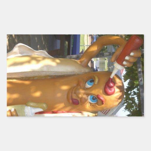 Estatua del hombre del perrito caliente rectangular pegatina