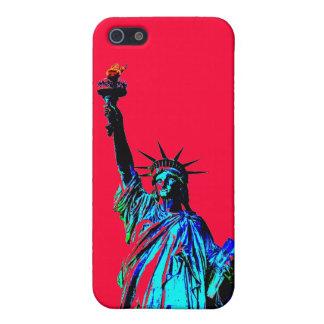Estatua del iPhone de señora Liberty Red Blue Art iPhone 5 Fundas