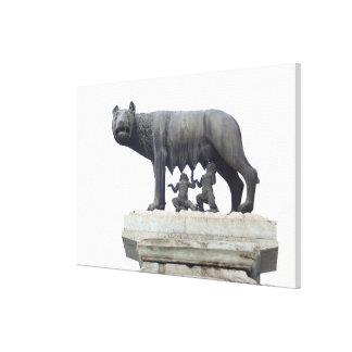Estatua del lobo de Capitoline (cría del Ella-lobo Impresión De Lienzo